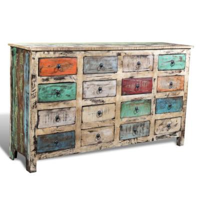 Armoire avec 16 tiroirs Bois massif de récupération Multicolore
