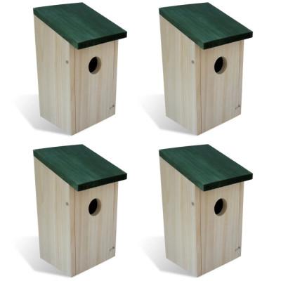 Set de 4 pcs Maison/Nichoir d'Oiseau Boite en Bois