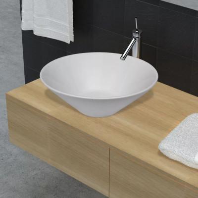 Vasque de salle de bains céramique blanc forme de bol
