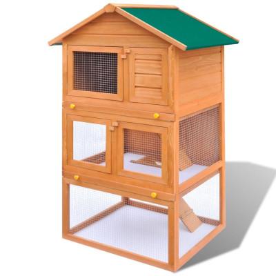 Cage Clapier Extérieur en Bois pour Lapins 3 Etages