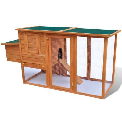 Cage à Poules Extérieur avec 1 Cage en Bois pour Oeufs