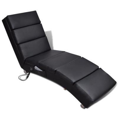 Fauteuil de massage inclinable Cuir synthétique Noir