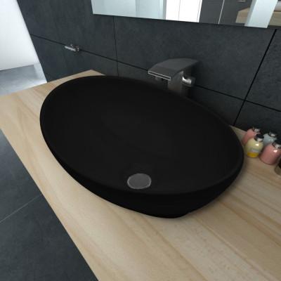 Lavabo ovale Céramique 40 x 33 cm Noir