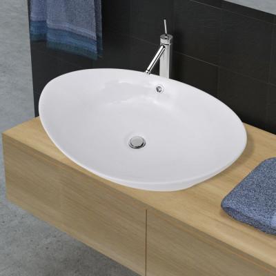 Luxueuse vasque céramique ovale avec trop plein 59 x 38,5 cm