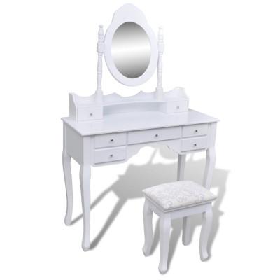 Coiffeuse avec miroir et tabouret 7 tiroirs Blanc