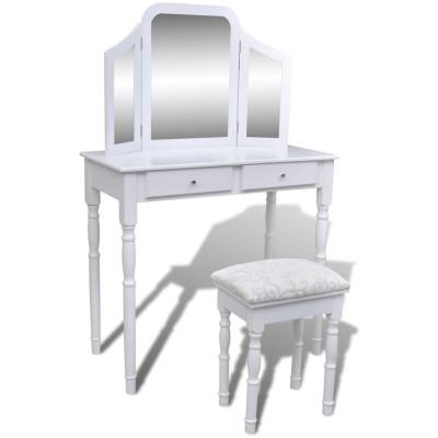 Coiffeuse avec miroir et tabouret 2 tiroirs Blanc