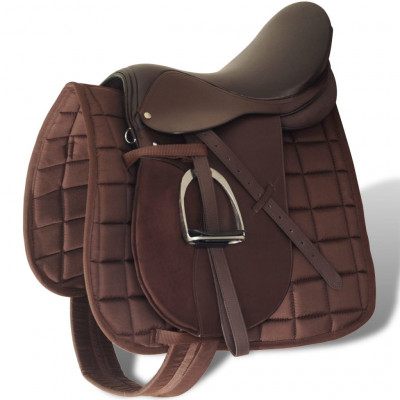"""Set de selle équitation 16"""" en cuir véritable 14 cm 5 en 1 brun"""