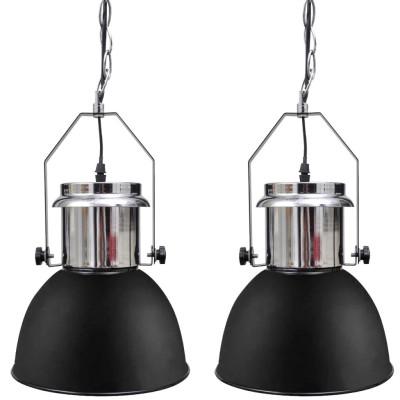 Plafonnier moderne en métal noir 2 pièces