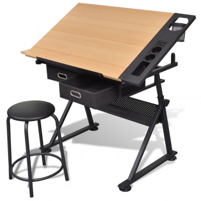 Table à dessin inclinable 2 tiroirs et tabouret