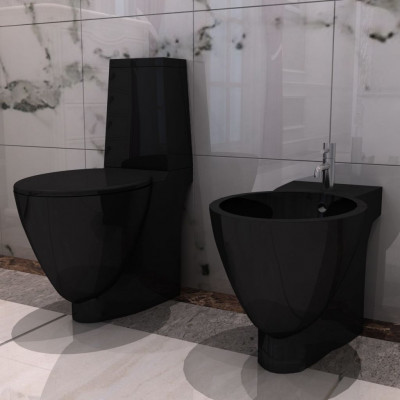 Set de cuvette et bidet céramique Noir