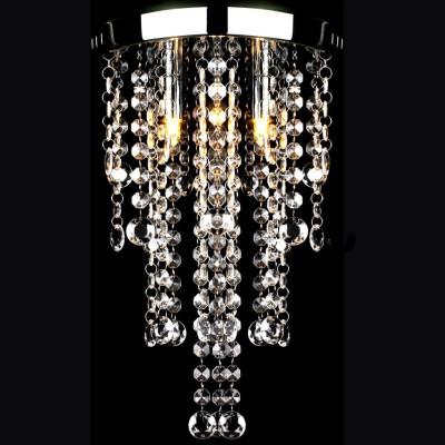 Plafonnier en métal blanc avec perles en cristal