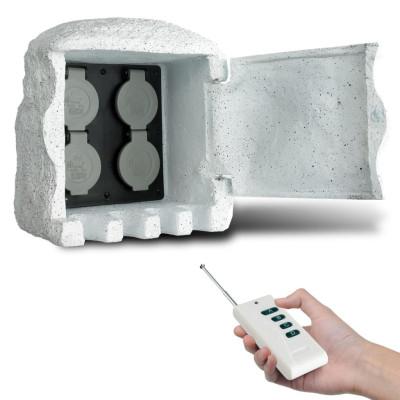 Borne électrique de jardin imitation pierre avec télécommande