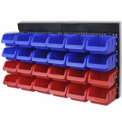 Etagère Bac à bec combinaison murale Bleu et rouge 2 pièces