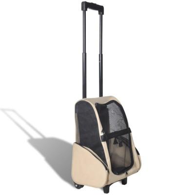 Sac de transport à roulettes pliable multifonction pour animaux beige