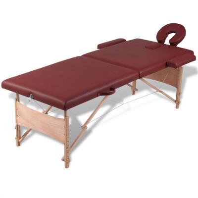 Table pliable de massage Rouge 2 zones avec cadre en bois