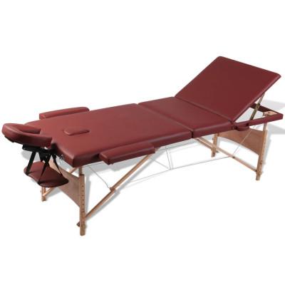 Table de Massage Pliante 3 Zones Rouge Cadre en Bois