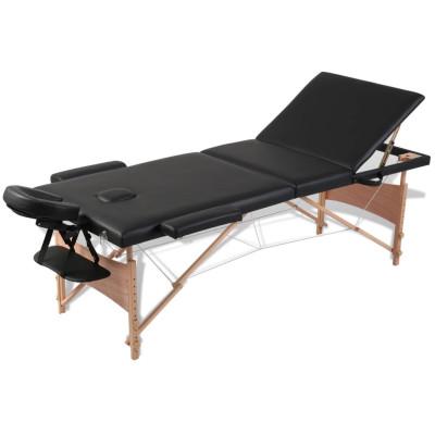 Table pliable de massage Noir 3 zones avec cadre en bois