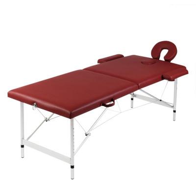 Table pliable de massage Rouge 2 zones avec cadre en aluminium