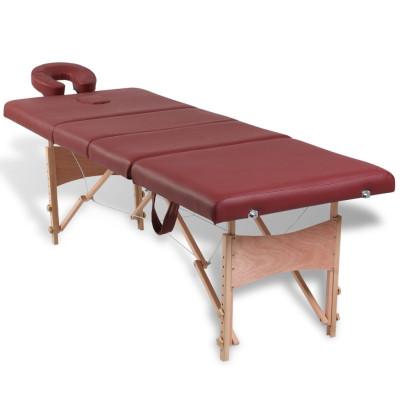 Table de Massage Pliante 4 Zones Rouge Cadre en Bois