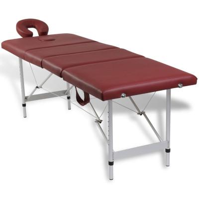 Table pliable de massage Rouge 4 zones avec cadre en aluminium