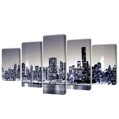 Set de toiles murales imprimées Horizon de New York monochrome