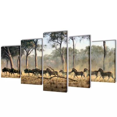 Set de toiles murales imprimées Zèbres 100 x 50 cm
