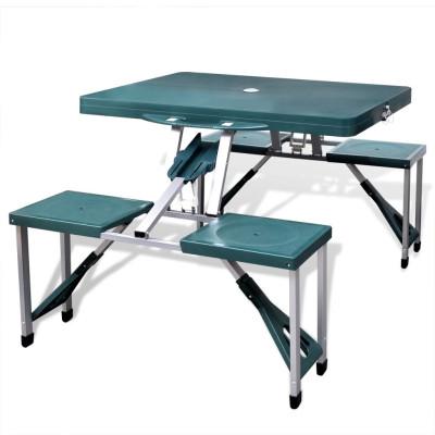 Table de pique-nique verte pliante à 4 sièges légère en aluminium