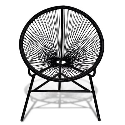 Chaise ovale noire en polyrotin
