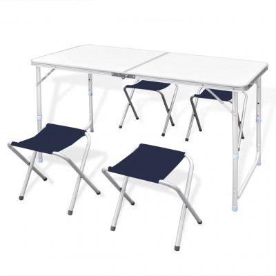 Table pliante de camping hauteur ajustable avec 4 tabourets