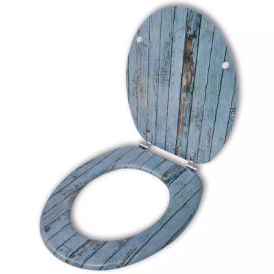 Abatant de WC avec couvercle design bois ancien