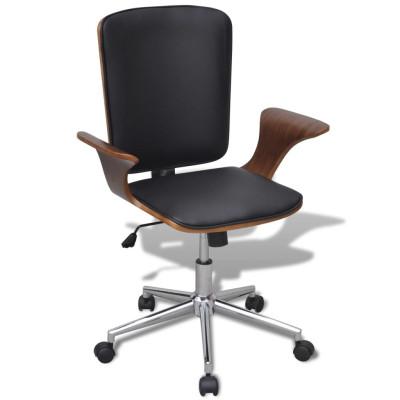 Chaise de bureau rotative en bois cintré avec revêtement en faux cuir