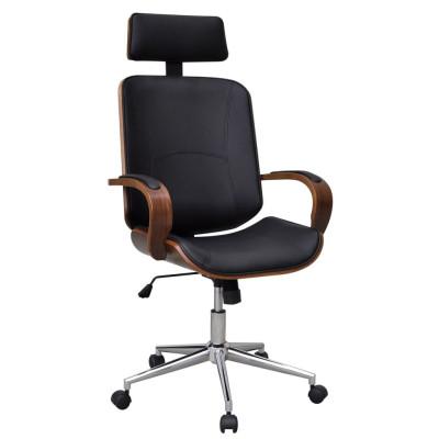 Chaise de bureau rotative en bois cintré avec repose-tête et faux cuir