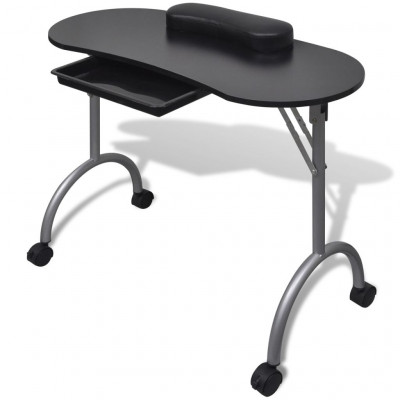 Table de manucure pliante noire avec roulettes