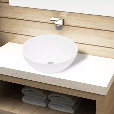 Lavabo de salle de bain Céramique Rond Blanc