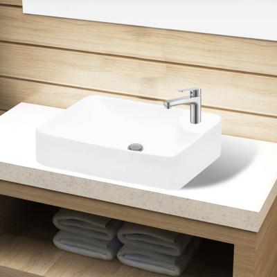 Lavabo à trou pour robinet céramique Blanc pour salle de bain