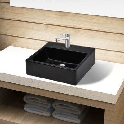 Vasque rectangulaire à trou Noir en céramique pour salle de bain