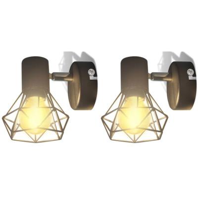 Cadre noir d'applique industriel à 2 ampoules LED à incandescence