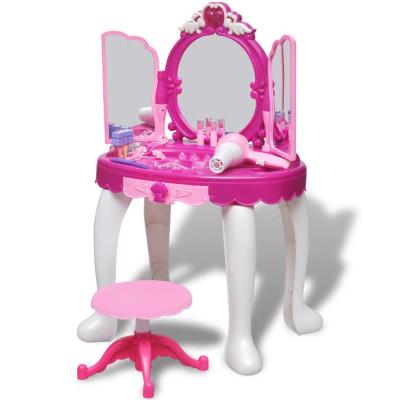 Coiffeuse de jouet avec lumière/son et 3 miroirs pour enfants
