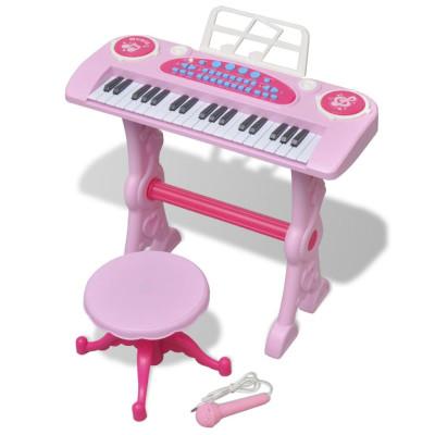 Piano avec 37 touches et tabouret/microphone jouet pour enfants Rose