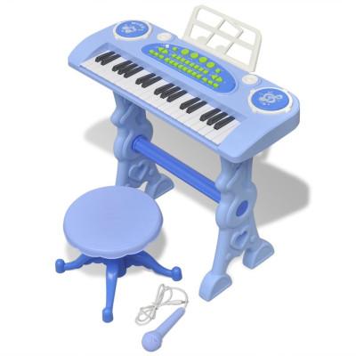 Piano avec 37 touches et tabouret/microphone jouet pour enfants Bleu