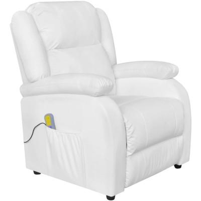 Fauteuil de massage électrique Cuir artificiel Réglable Blanc