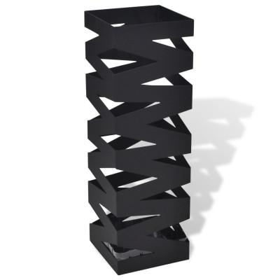 Noir Carré Porte-parapluie Stockage pour cannes bâtons Acier 48,5 cm