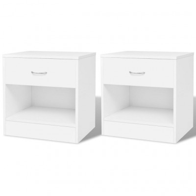 2 tables de chevet avec tiroir Blanc