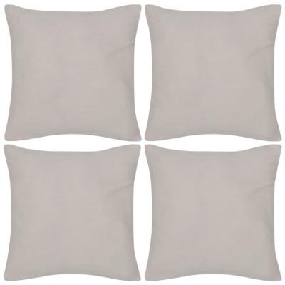 4 housses de coussin en coton 40 x 40 cm Beige