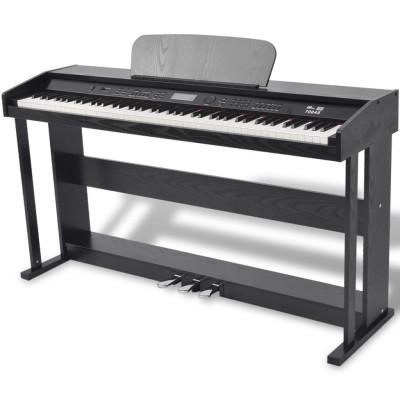 Piano avec 88 touches avec pédales Noir Panneau en mélamine