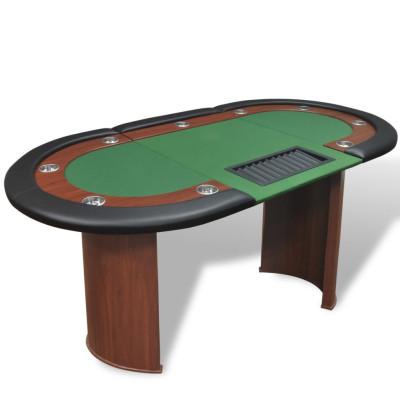 Table de poker pour 10 joueurs avec espace de croupier Vert