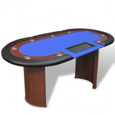 Table de poker pour 10 joueurs avec espace de croupier Bleu