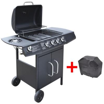 Barbecue gril à gaz 4 + 1 brûleurs Noir