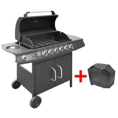 Barbecue gril à gaz 6 + 1 brûleurs Noir