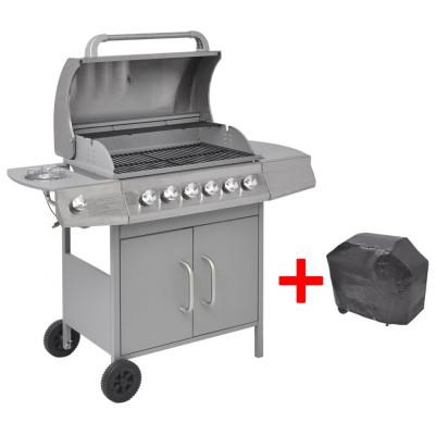 Barbecue gril à gaz 6 + 1 brûleurs Argenté